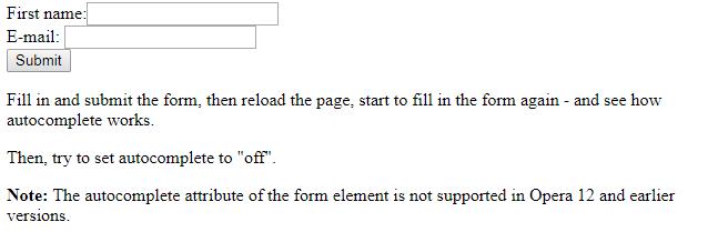 HTML autocomplete input attribute