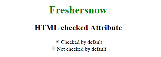 HTML checked attribute