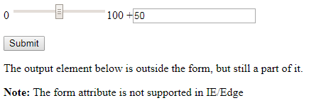 HTML form attribute output element