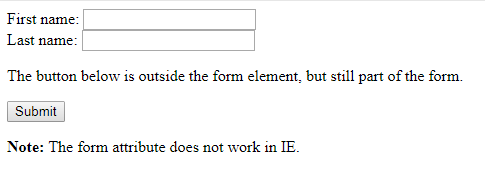 HTML form attribute for button element