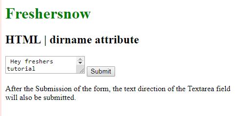 HTML dirname textarea element