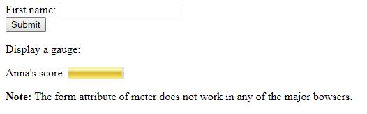 HTML form attribute meter element