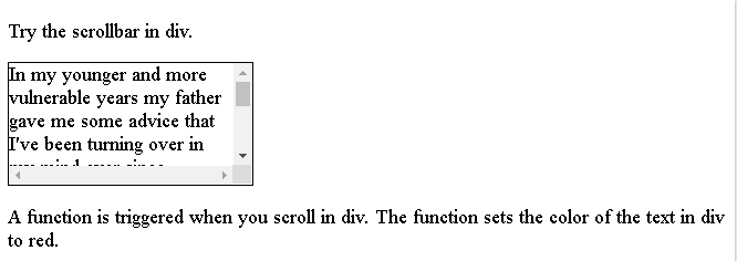 HTML onscroll attribute
