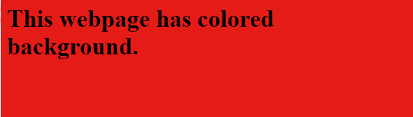 HTML bgcolor red