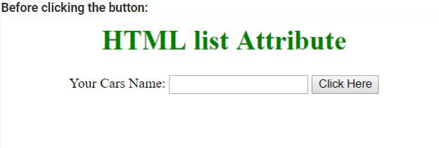 HTML list attribute input element