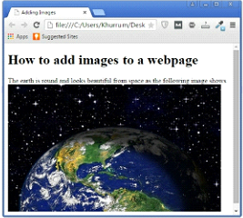 HTML 5 Image Tag with Path Example Output