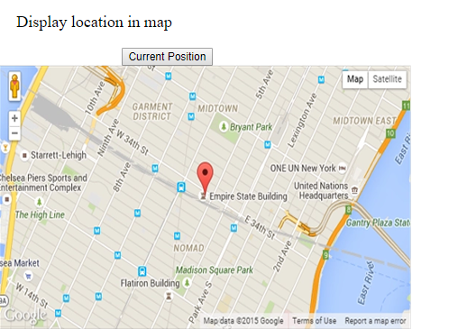 HTML5 Geolocation API Example Output