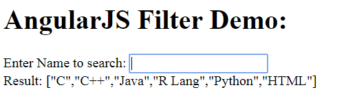 The Filter Example Output