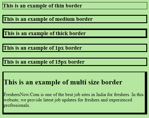 Border Width Example Output
