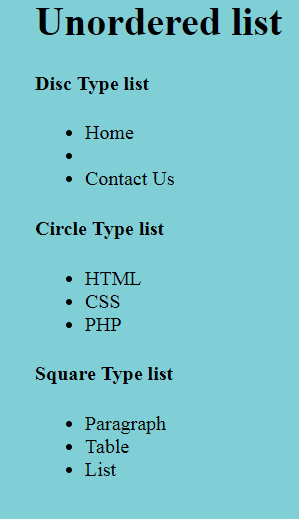 list styling example output