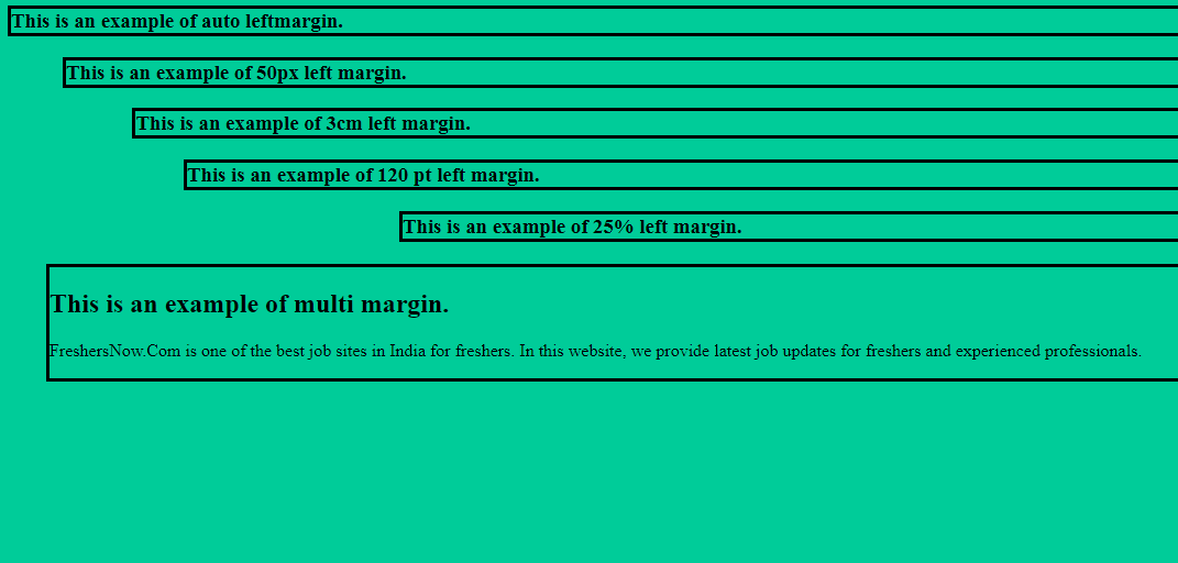 CSS Margins Example Output