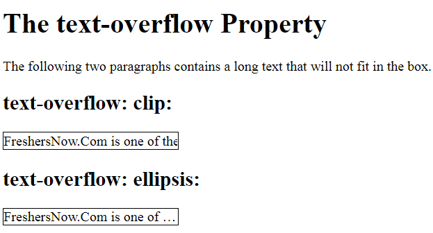 CSS Text Overflow Example Output