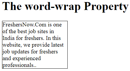 CSS Word Wrapping  Example Output