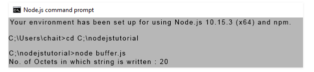 node js writing buffer Output