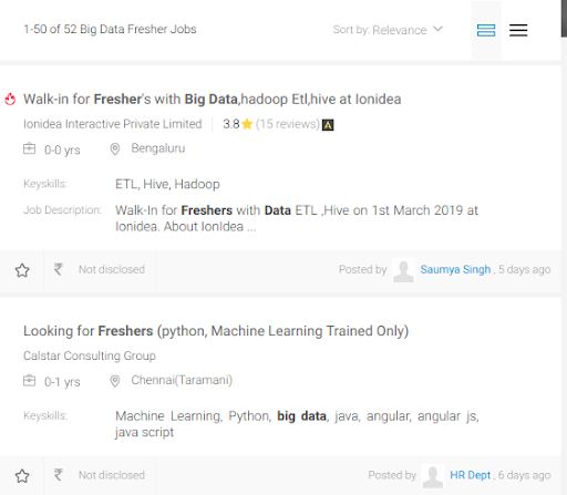 Jobs For Freshers In Big Data